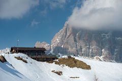 Dolomites mountain snow landscape in winter Royalty Free Stock Photos