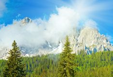 Dolomites mountain summer sunshine view Royalty Free Stock Photo