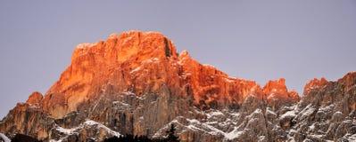 Dolomites mountain sunshine panorama Royalty Free Stock Photography
