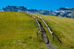 Dolomites mountain trail and fence on the lawn. August snow in the mountains of Siusi stock photography