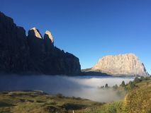 Dolomites mountain view. Sella group and Sasso Lumgo seen from Passo Gardena in the early morning Stock Photo