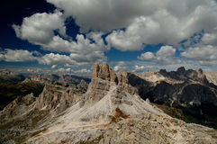 Dolomites mountains. View on Averau from Via Ferrata Gusella Nuvolau while climbing to the rifugio Nuvolau. Italian Dolomiti mountains in the background Royalty Free Stock Image