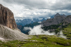 Dolomites Mountains, Italy, Cloudy Stock Image