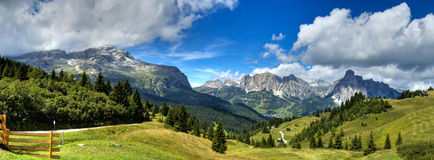 Dolomites mountains landscape. View of the mount alta badia - Italy royalty free stock image