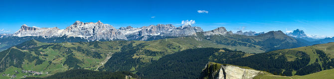 Dolomites mountains landscape. Incredible view from the mountain station of the cableway Boe, Dolomites - Italy Royalty Free Stock Photos