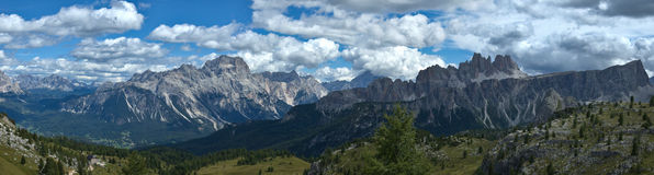 Dolomites mountains landscape. View from Cinque Torri towards the valley of Cortina d'Ampezzo  - Italy stock photography