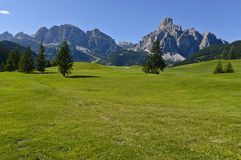 Dolomites mountains landscape. View of the mount alta badia - Italy stock photo