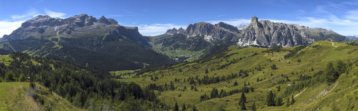 Dolomites mountains landscape. View of the mount of Alta Badia  - Italy Royalty Free Stock Photo