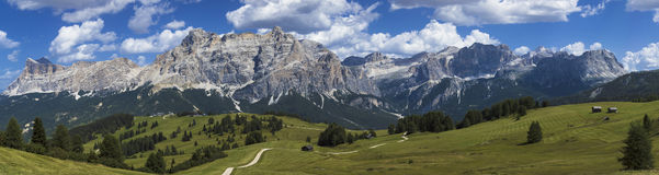 Dolomites mountains landscape. View of the mount of Alta Badia - Italy stock photos