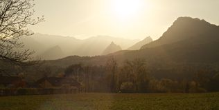 Dolomites mountains landscape at sunset Stock Images