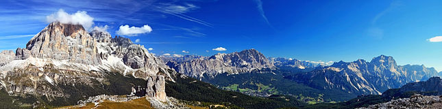 Dolomites mountains panorama from Nuvolau mountain peak stock image