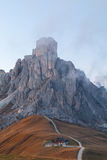 Dolomites mountains the Passo di Giau, Monte Gusela at behind  N. Uvolau gruppe at sunset in South Tyrol, Italy Stock Photos