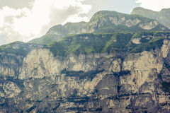 Dolomites mountains, rock face close to Trento Stock Images