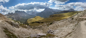 Dolomites mountains from the Tre Cime di Lavaredo, Italy. Stock Photography