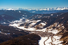 Dolomites mountains in winter Puster valley Royalty Free Stock Photo