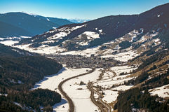 Dolomites mountains in winter Puster valley Stock Photography