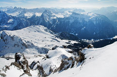 Dolomites mountains at winter, ski resort Royalty Free Stock Photos