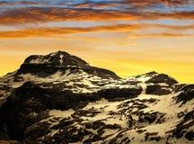 Dolomites moutnain peaks Piz Boe. At sunset, Sella, Italy Royalty Free Stock Photos