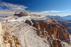 Dolomites moutnain peaks View to Piz Boe, Sella, Italy.  Royalty Free Stock Images