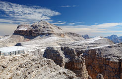 Dolomites moutnain peaks View to Piz Boe, Sella, Italy.  Royalty Free Stock Image