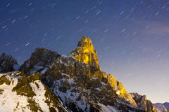 Dolomites Night Startrail Stock Image