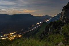Dolomites på natten royaltyfri foto