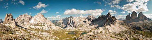 Dolomites panorama. Tre Cime di Lavaredo area - 180 degree panoramic view Stock Photos