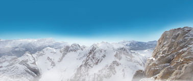 Dolomites panorama view in winter snow time Royalty Free Stock Photography