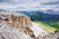 Dolomites of Passo Pordoi. Scenic view of Dolomites Marmolada, Passo Pordoi, near Canazei of Val di Fassa, Trentino-Alto-Adige region, Italy Stock Images