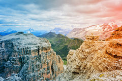 Dolomites of Passo Pordoi Royalty Free Stock Images