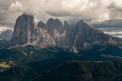 Dolomites peaks in sunset Royalty Free Stock Photos