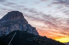 Dolomites pendant le lever de soleil, Italie Photos libres de droits