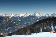Dolomites range. Ski trace fragment with wonderful view on Dolomites' range Royalty Free Stock Photo