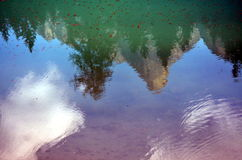 The dolomites that are reflected on the lake Royalty Free Stock Photo