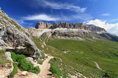 Dolomites: Sella group and Pordoi pass Royalty Free Stock Images