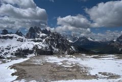 Dolomites, snow and clouds in northern Italy Royalty Free Stock Photos