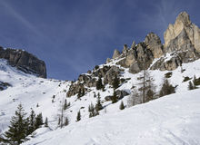 Dolomites stones and cliffs, Corvara Stock Photos