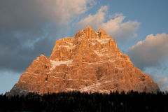 Dolomites at sunset in north of Italy Stock Image