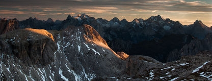 Dolomites sunset panorama Stock Image