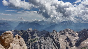 Dolomites time lapse from Marmolata top point. Time lapse of Dolomites from Marmolata top point, 4k stock footage