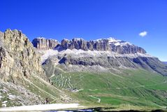 Dolomites Unesco. Summer portrait of Italian Dolomites in val di Fassa South Tyrol Alps Italy stock image