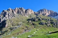 Dolomites Unesco. Summer portrait of Italian Dolomites in val di Fassa South Tyrol Alps Italy royalty free stock photos