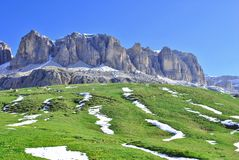 Dolomites Unesco. Summer portrait of Italian Dolomites in val di Fassa South Tyrol Alps Italy stock photo