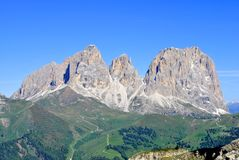 Dolomites Unesco. Summer portrait of Italian Dolomites in val di Fassa South Tyrol Alps Italy royalty free stock photography