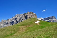 Dolomites Unesco. Summer portrait of Italian Dolomites in val di Fassa South Tyrol Alps Italy royalty free stock photo