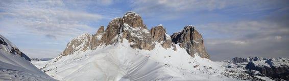 Dolomites in Val di Fassa. Panoramic view of Dolomites in Val di Fassa. Italy Royalty Free Stock Photos