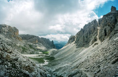 Dolomites - Valley and cliffs of Larsech Royalty Free Stock Image
