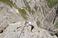 Dolomites - Via Ferrata Royalty Free Stock Photography