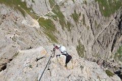 Dolomites - via Ferrata Royaltyfri Fotografi