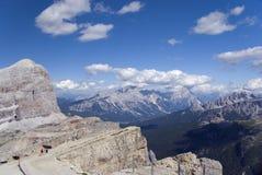 Dolomites view from Lagazuoi refuge Stock Photo